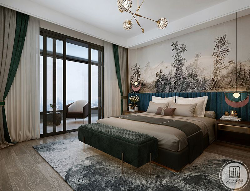 这间卧室主要突出孔雀蓝的色调,整体空间显得优雅舒适