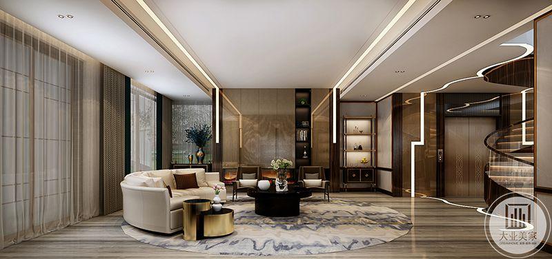 另一个客厅则是米白色的主沙发,北京市两扇大大的窗户,对面则是大大的旋转楼梯