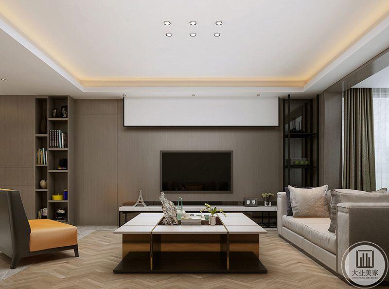 客厅电视墙是简约的浅木色板材,上面加了一个投影幕布。电视墙两侧是储物架,上面摆放着各种摆件和物品