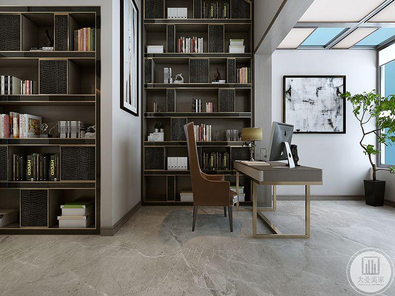 书房设置了两面书架,是深黑色的色调,书桌椅摆放整齐大方,窗户十分明净,角落处摆放了盆栽