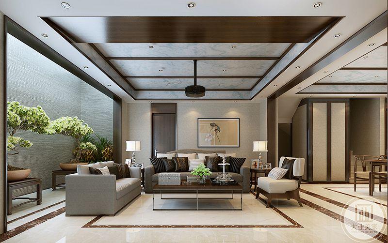 客厅是简洁的木质桌椅,一侧的沙发后方抠出一块空间放置大型盆栽。沙发墙上是一幅仿古画,客厅的整体色调偏暖。