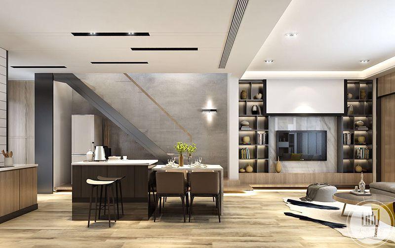 餐厅旁边还设置了吧台,吧台上放了水壶和茶杯,吧台左边就是厨房,