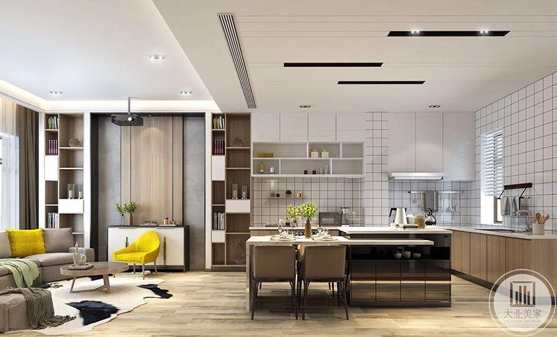 餐厅和客厅厨房位于一个大空间,整洁舒适,将空间划分的刚刚好,厨房与餐厅用一个小吧台隔开