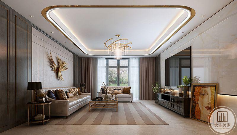 从侧面来看,浅棕色的窗帘与地面上的条纹底地毯是利用了重复元素以突显整体风格