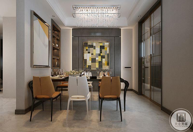 餐厅是简单的六人长桌,橙色元素的椅子和白色的家、结合在一起,优雅与奢华并存,餐厅装饰墙上是一幅方块格子的艺术画,文化感十足