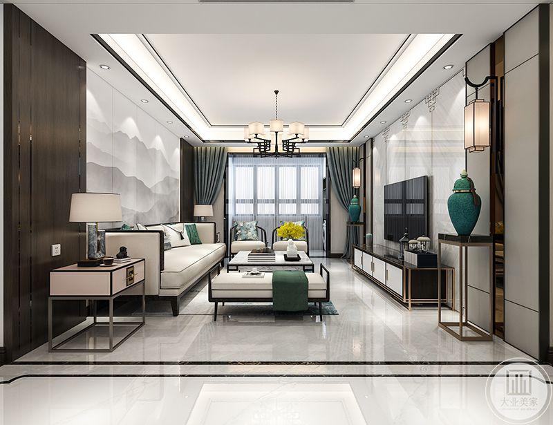 """本案设计理念是""""淡逸如墨""""在客厅的设计上主要采用了基础的黑白色调和灰蓝色调。深如浓墨,淡若青萍。浅青色的运用无疑给客厅添了一抹风雅"""