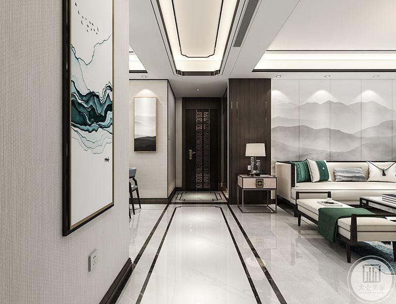 客厅对青色的运用十分和谐有致