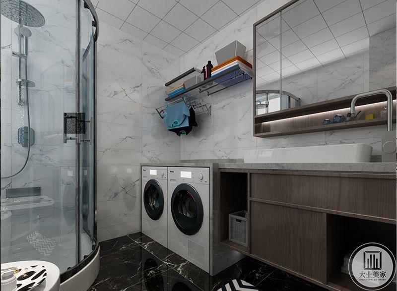 卫浴间有淋浴间和洗衣机等基础设施