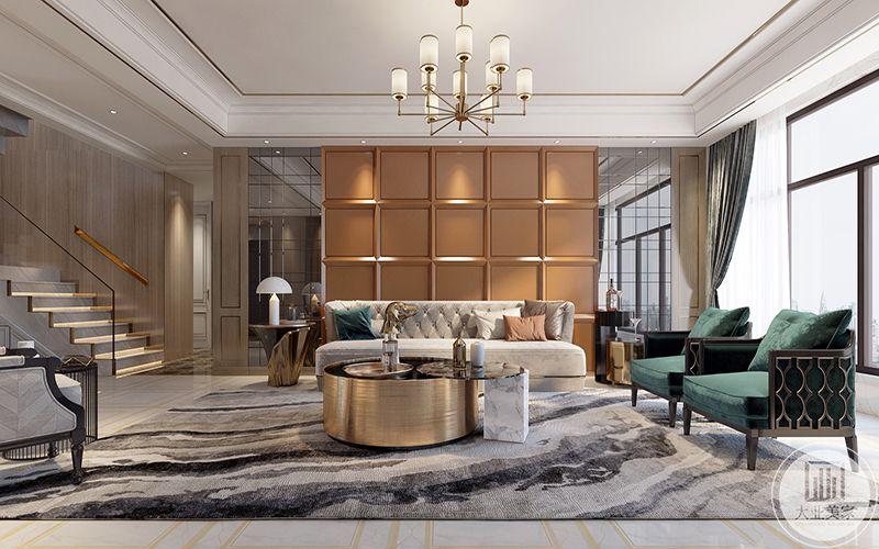 客厅是在浅色的木色与浅灰色空间中插入了一抹带生机的墨绿。单个的懒人坐垫随意陈设在地毯上,给人一种舒适慵懒的感觉。