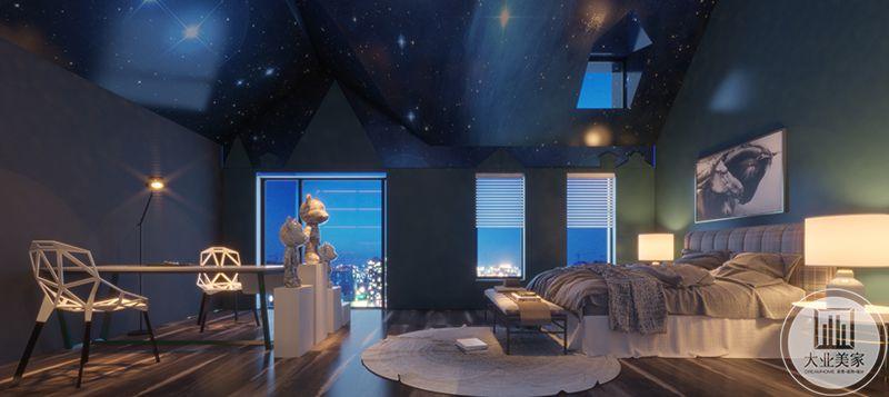 三层主卧室是极致梦幻的空间,蓝色是神秘与梦幻的最好表达,外星球的壮丽与神秘尽数体现在这个空间里。