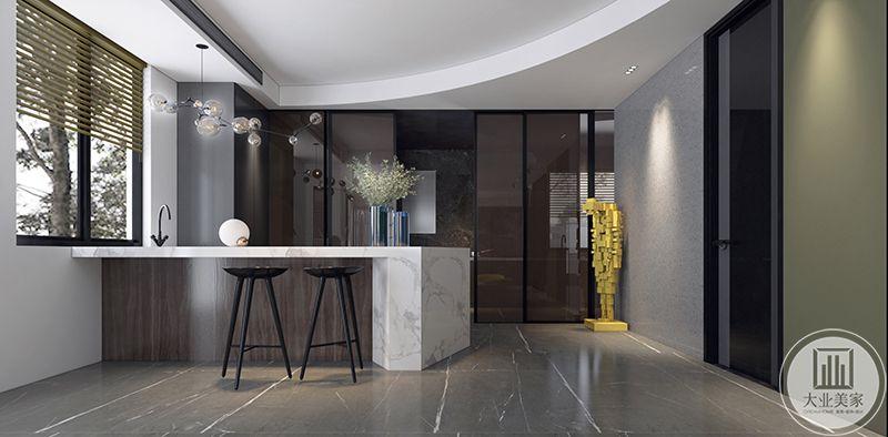 吧台的设计使空间显得更加现代化。