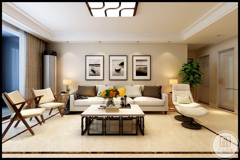 白色沙发躺椅,简单舒适,木式沙发折叠椅实用性极强,白色大理石地面干净明朗,空间布局强调含蓄,达到以少胜多,以简盛繁的效果。