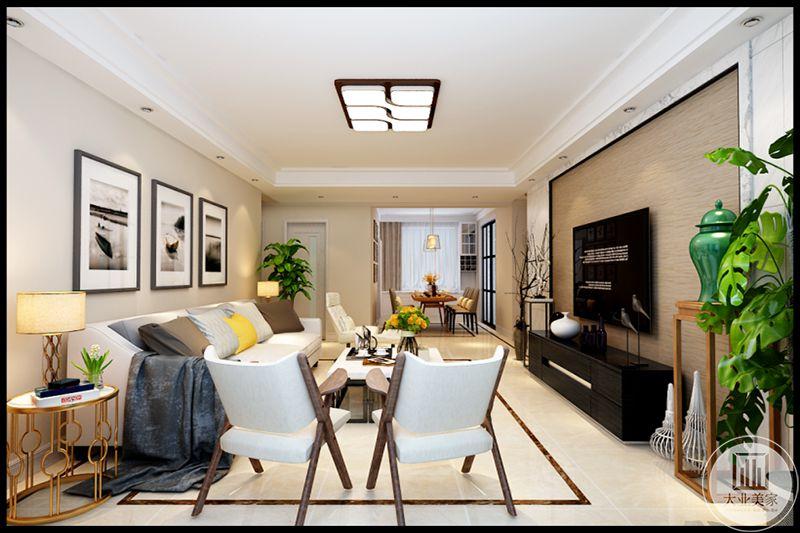 复古黑白墙面装饰画,体现了极简美学基础,沙发布艺线条简约流畅,绿色工艺瓷瓶,色彩对比强烈,极具现代家具特点,给人前卫时代,不受拘束的感觉。