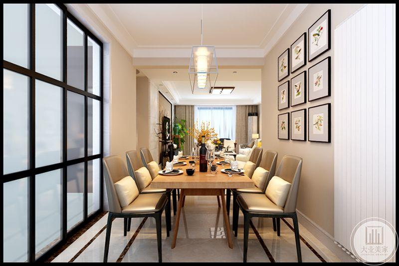 六人位餐桌椅,棕亮色桌面,棕黄色靠背椅,白色垫腰,舒适大方,浪漫新式吊灯,营造出一种迷人氛围。