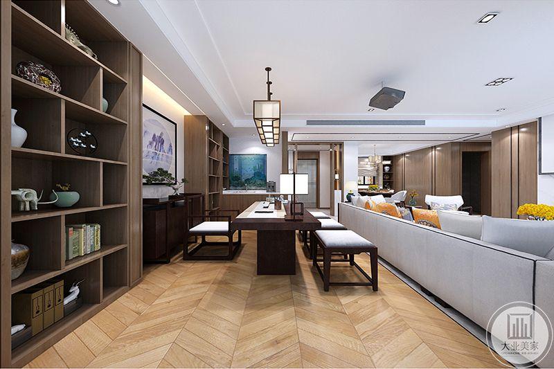 棕色博古架古朴、自然,装饰具有内蕴,与现代沙发工艺,饰品点缀,古色古香与现代风格的简单素雅自然衔接。