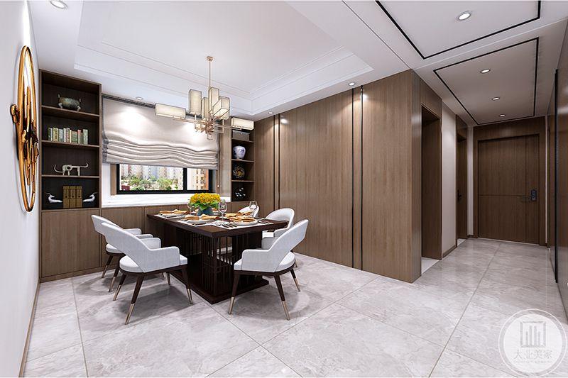 白色布艺圈椅,雅致桌台搭配,时尚舒适,空间装饰采用简洁硬朗的直线条,在黑白灰的基础上延伸,富有现代感。
