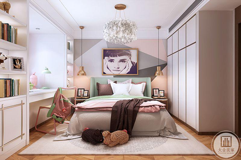 色彩明亮活泼的女儿房,粉色装饰点缀,符合居住人的特质,挂画美丽优雅,暗喻公主气质,空间展示现代时尚感。