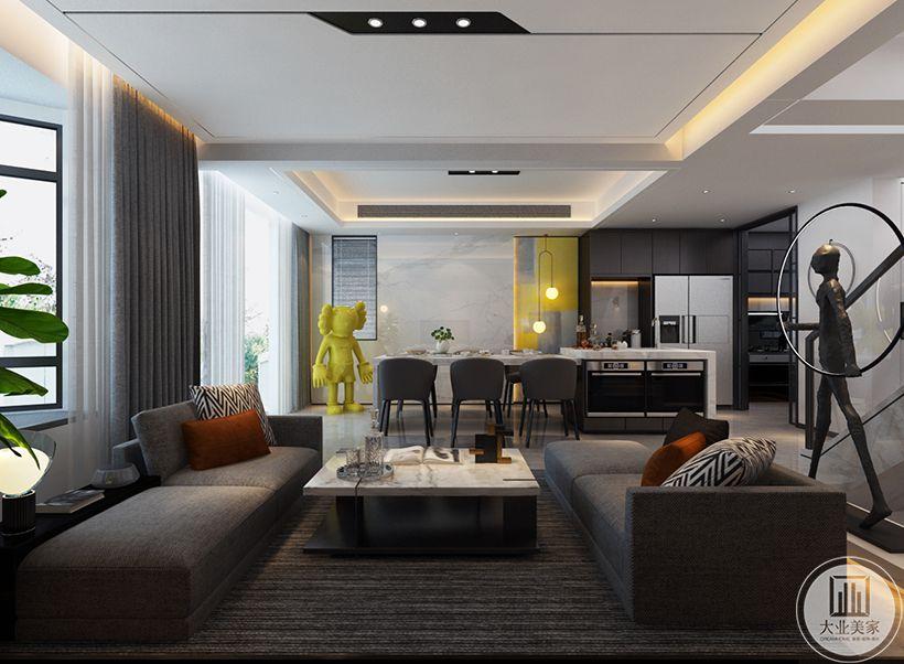 客厅采光的折线型窗户,沙发靠窗布置,搭配橘色抱枕,还有大理石台面设计,都让空间显得更加的优雅精致。