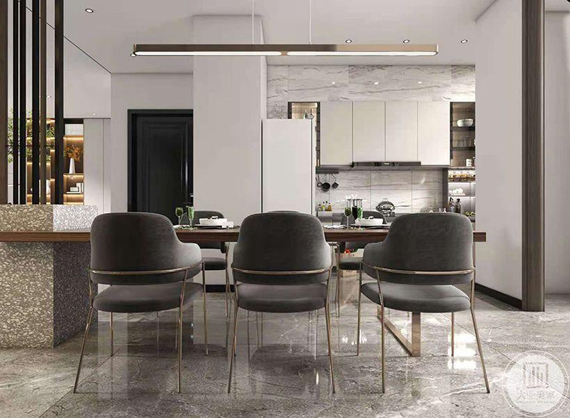 我们将传统的餐桌进行延伸,做出现代感的玄关造型,并为餐桌增添出更多的使用趣味性