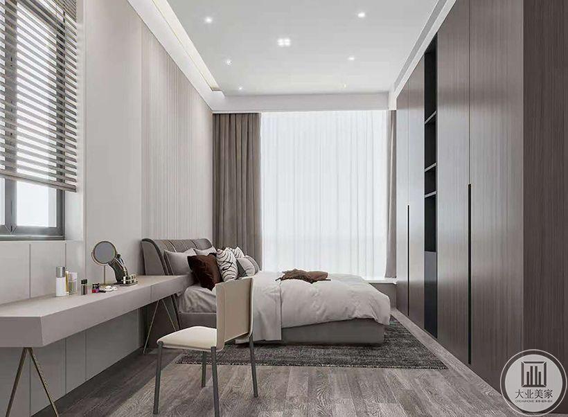 以简单时尚为主题,并迎合整个空间的设计基调,在这间卧室中我们留下了无限的可能