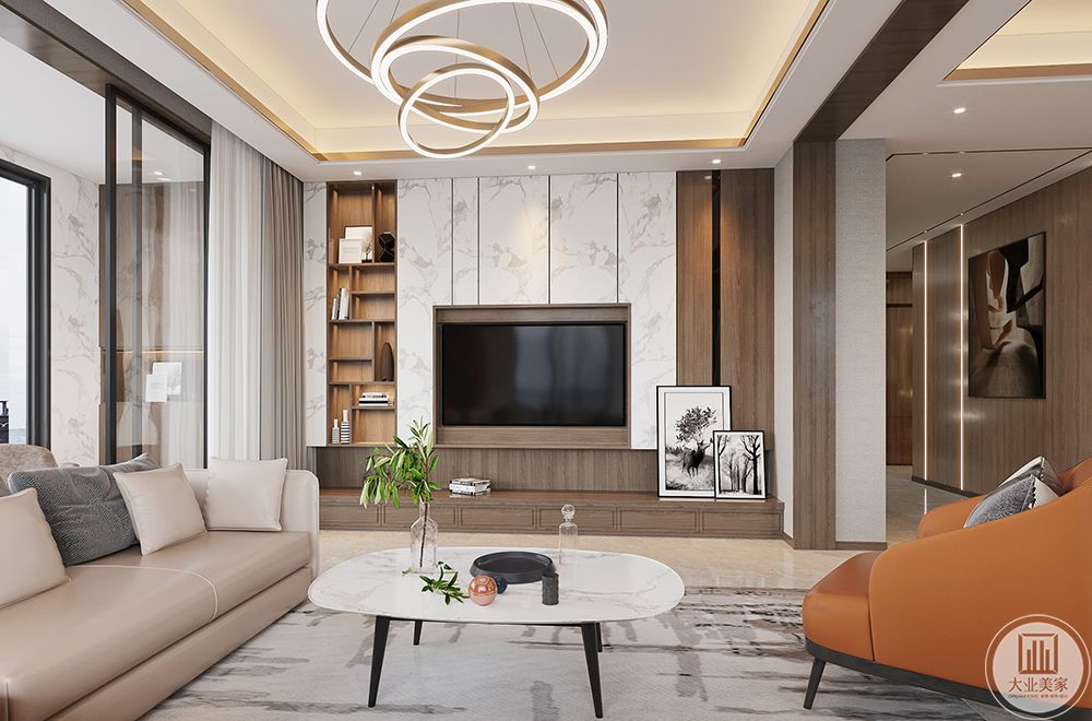 客厅硬装的部分极力的摆脱造型,通过块面和线条塑造更具包容性的空间