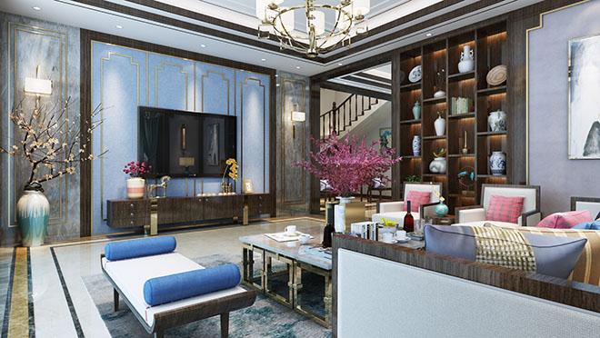 别墅装修国华印象320平新中式风格装修效果图