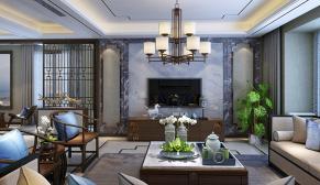 财富中心248平大户型现代中式风格装修效果图