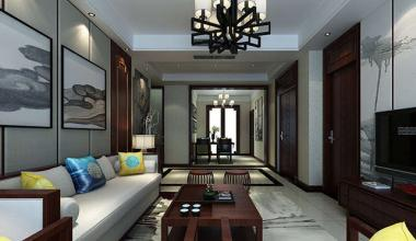 财富中心三室新中式装修效果图
