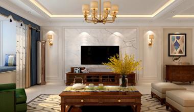 财富中心190平美式风格装修案例效果图