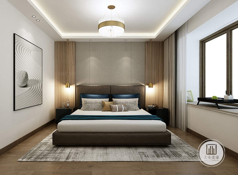 主卧室床头背景墙采用浅灰色壁布装饰,两侧采用实木护墙板,床的两侧采用黑檀木床头柜,一侧的窗户采用飘窗的设计。