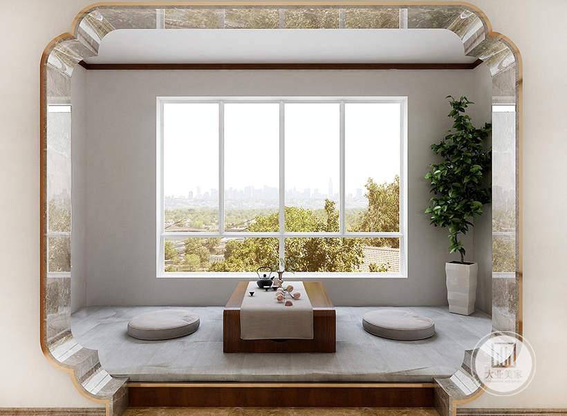 客厅阳台做成红木地台,增加休闲空间。
