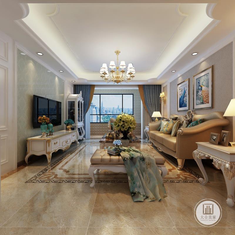 客厅影视墙采用浅绿色大理石,电视柜采用白色实木电视柜,沙发墙铺贴浅黄色壁纸,沙发采用黄色真皮沙发。