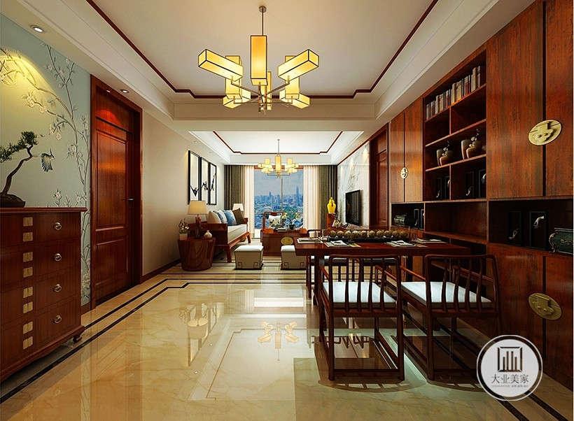 中式吊灯,造型典雅别致,极具中式风格的墙纸,松树梅花错落,提升环境气质,烘托典雅气氛。