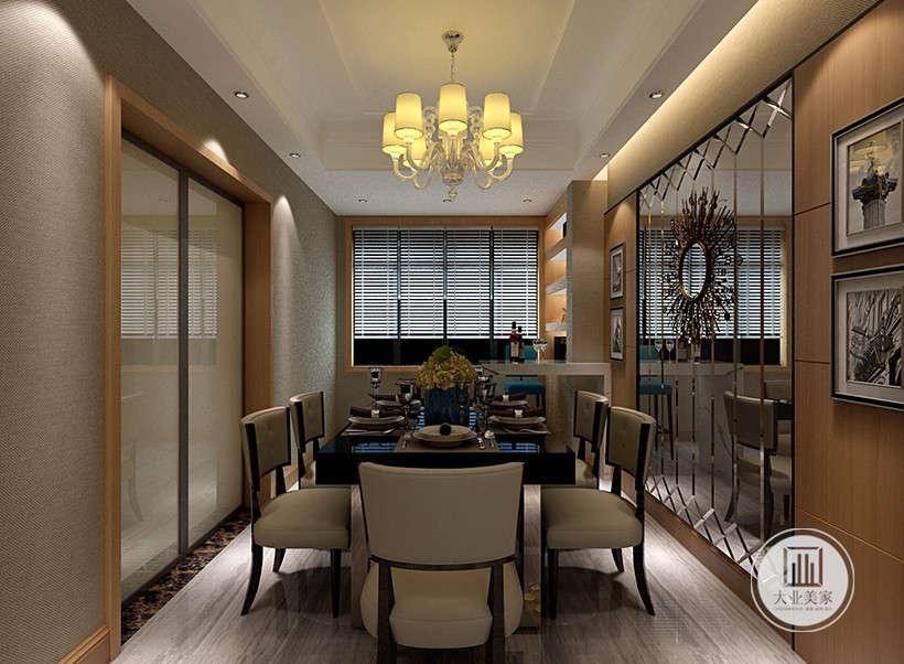 百叶窗窗帘,方便清洁打理,造型雅致实用,环型餐桌餐椅摆放,带来美观与舒适的并存的享受。