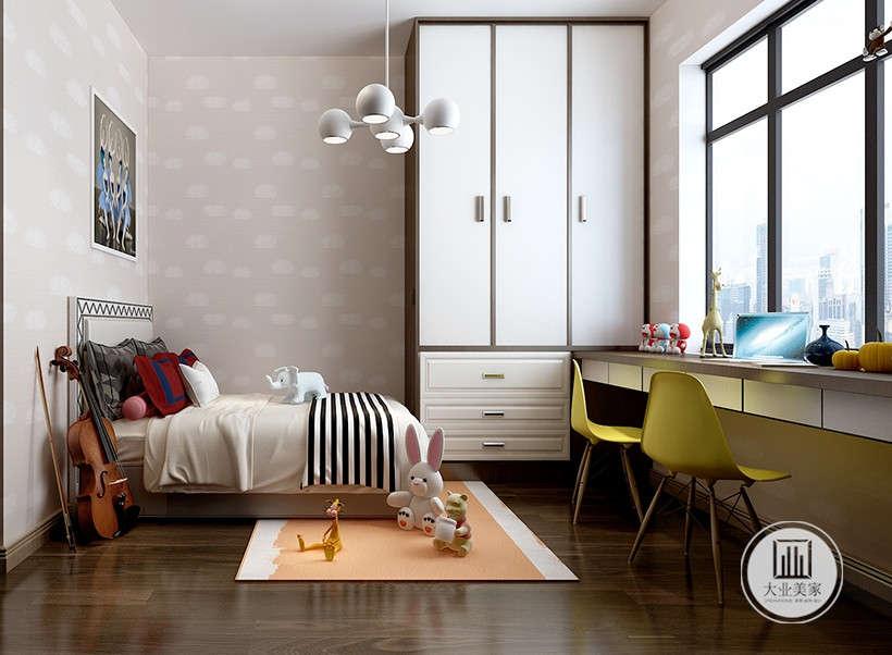 可爱玩偶,黄色写字桌台,不会在整体风格内显得突兀,但是有摆脱了成熟简洁质感,打造了活泼不失精致的儿童房间。