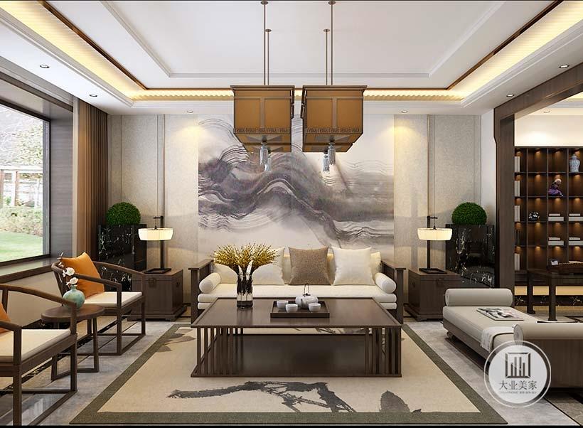 客厅沙发墙采用中式风格水墨画,两侧采用浅黄色壁纸,沙发茶几采都采用红木材料。