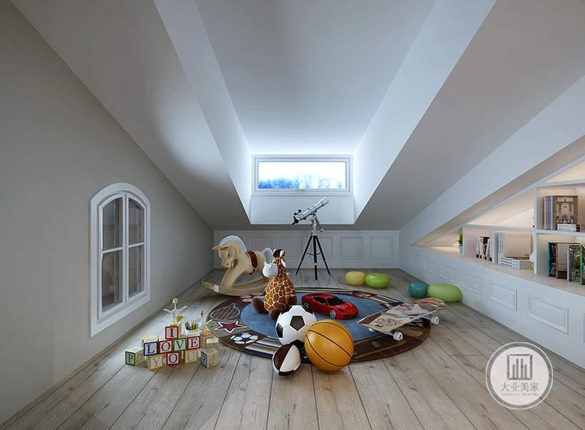 把最小的空间做成儿童活动空间,这样的设计增加空间的私密性。