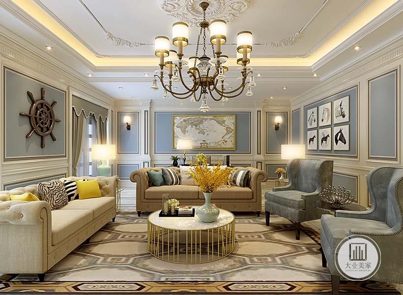 客厅空间没有沙发墙,后面是书房空间,沙发采用浅黄色布艺装饰,茶几采用金属框架的茶几。