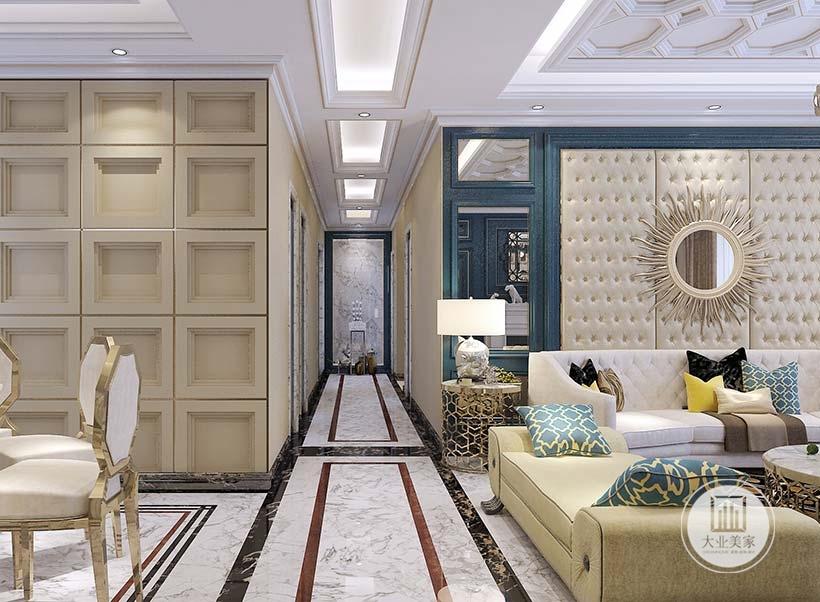 客厅入户走廊左右两侧是客厅和餐厅的一部分。