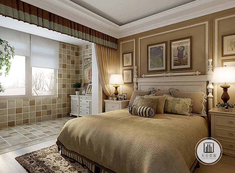 卧室床头背景墙采用浅绿色壁纸,搭配白色石膏线,挂画摆放采用对称方式,两侧采用白色美式实木床头柜。
