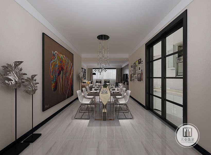 工艺铁质装饰体现时代特征为主,开放式餐厅没有过分的装饰,一切从功能出发,讲究造型比例适度、空间结构图明确美观,强调外观的明快、简洁。体现了现代生活快节奏、简约和实用,但又富有朝气的生活气息。