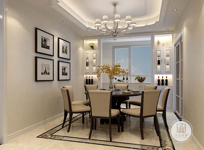 餐厅餐桌采用黑檀木材料,两侧的墙面都铺贴浅黄色壁纸,一侧的墙面悬挂四幅现代风景画。