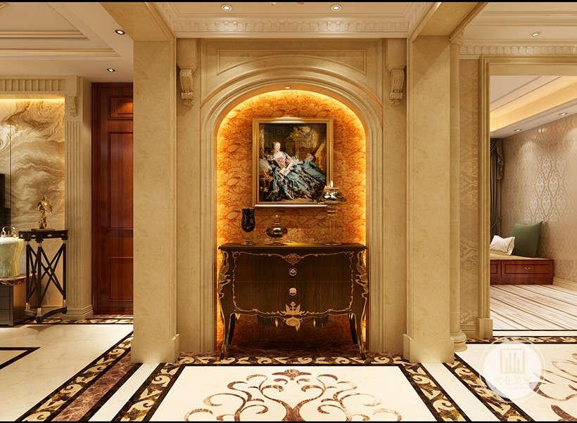 隔断装饰上半部多做成圆弧形,并用带有花纹的石膏线勾边。室内有真正的壁炉或假的壁炉造型。墙面用高档壁纸,或优质乳胶漆,以烘托豪华效果。