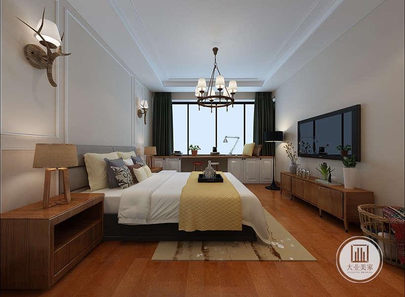 铁艺链条灯,造型朴拙,巧妙的避开欧式水晶灯耀目,白色墙壁暗红色地板,这两种色调都更好的保证了居住者的休憩舒适度,没有一味的追求奢华,而是向往简单大气的居室格调、