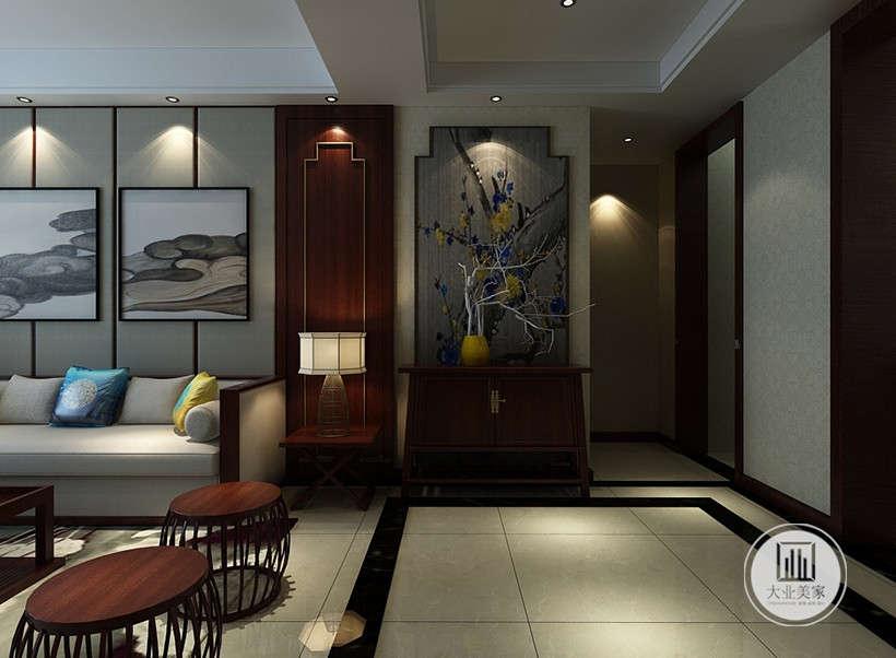 宫灯造型工艺品,在空间中起到了画龙点睛的作用,设计师以现代的装饰手法和家具,结合古典中式的装饰元素,挂画与布艺靠枕,时尚与经典的巧妙搭配,打造雅致别具一格的室内风格。