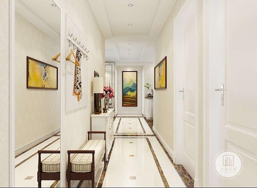 该风格以白色和淡色为底色,设计师根据房间走廊位置安装不同装饰画,在干净的视觉中起到醒目的作用,冲淡单调增加房间特色。