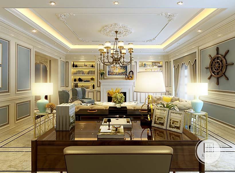 影视墙不设置电视电视柜,电视柜被壁炉取代,两侧做成白色书柜增强收纳。