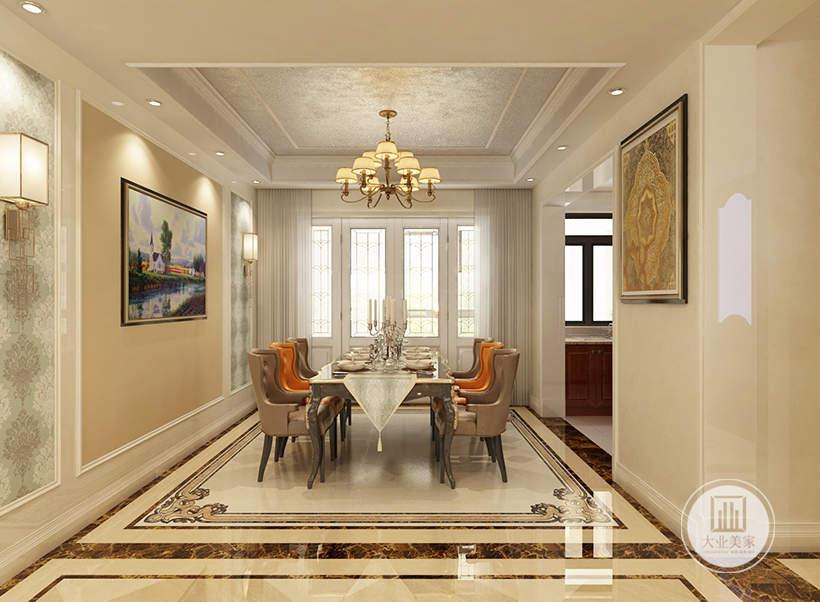 餐厅的餐桌采用浅灰色装饰,一侧的墙面采用浅黄色壁纸,墙面采用风景画装饰。