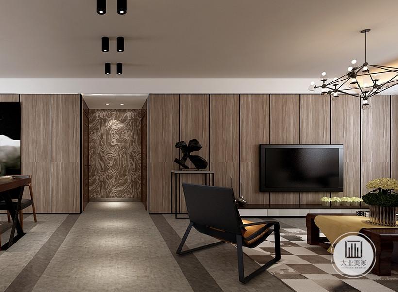 木质元素的搭配,使居室充满休闲的氛围,是快节奏都市生活的休憩港湾,电视墙的处理相当简洁而富有品味,配合大理石地面,展现和谐宁静的家居生活。