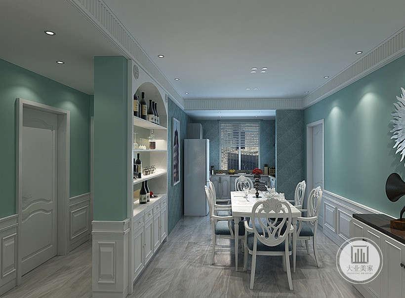 餐厅的餐桌餐椅都用白色实木框架,一侧的墙面做成白色收纳柜,厨房采用开放式的设计,墙面铺色浅蓝色花纹砖。